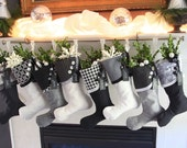 Christmas Stockings with Graphic Black & White Spunkiness