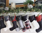Christmas Stockings in Black, Grey and White with a Little Red Panache All Over
