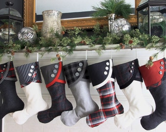 Christmas Stockings - Black, Grey and White with a Little Red Panache All Over