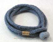 blue wrap bracelet of handmade rope with blue boulder button rope bracelet button bracelet 3924