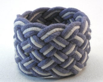 blue rope bracelet cotton cord knotted wristband nautical style turks head knot rope jewelry sailor bracelet 3655