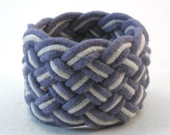 blue rope bracelet wide cotton cord knotted wristband nautical style turks head knot rope jewelry sailor bracelet 3655