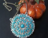 Vintage Jewelry Fantastic Faux Turquoise Petit Point Style Large Round Medallion nickle silver chain, Layering Necklace Boho Indian Cowgirl