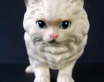 Vintage Fluffy White Cat Figurine late 1950's to early 1960's George Imports Realistic Kitty Cat Collectible Home Decor Item