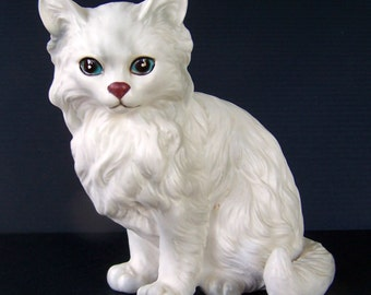 Vintage Persian Cat Figurine by Lefton model 1514 with sticker 1960's Realistic Kitty Cat Collectible Home Decor Item