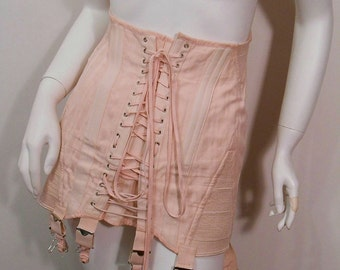 Vintage Pink Corset Lace Up Garters 1940's Corset Steel Boned Leather Reinforced Back Support Brace Victorian Steampunk Pin Up Burlesque