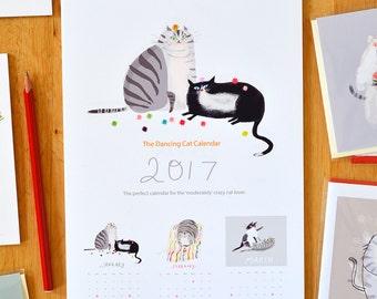 Cat Calendar- The 2017 Dancing Cat Calendar- Gift for Cat Lover