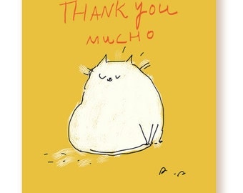 Thank You Mucho - Cat Card - Cat Funny Thank You Card