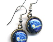 Starry Night Earrings , Surgical Steel Earrings, Surgical Steel Blue Earrings, Van Gogh Earrings, Fine Art Earrings, Surgical Steel Jewelry