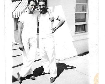 Men in White vintage photo Buddies Affectionate 1940s snapshot