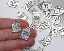 RIP Gravestone Charms Head Stones Antique Silver Plated Cemetary R.I.P. Never More Raven 2 Or More TierraCast Lead Free Pewter Halloween