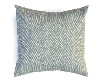 Grey Decorative Throw Pillow COVER - Cameron Pewter Natural Zig Zag Chevron  - Premier Prints -  Gray - Available in 16x16, 18x18, 20x20