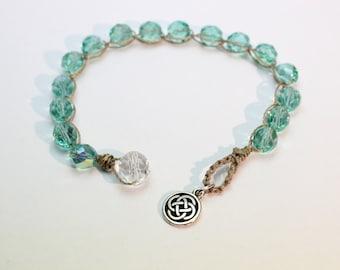 Celtic Knot Bracelet,Aqua Czech Glass, Celtic Sparkle