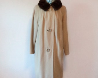 vintage 1960s cashmere coat // mink fur collar // huge buttons 60s taupe coat