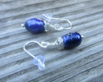 Blue Freshwater Pearls. Sterling Silver Earrings.
