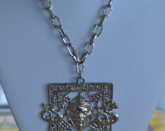 "Pretty Vintage Asian Man, Dragon, Tassel Pendant Necklace, Silver tone, 16"""