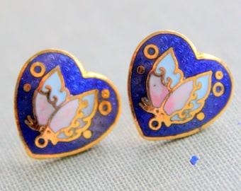 Vintage Earrings Butterfly Enameled Cloisonne Post Stud