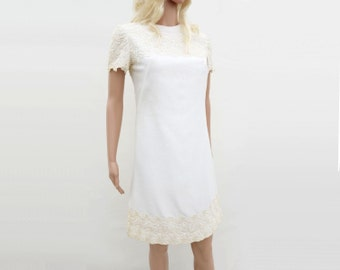60s Vintage Dress, 60s White Mini Dress, Off White Lace Dress, 60s Mod Dress, White Party Dress, Mode Le Maurice, 60 Sheath Dress, m
