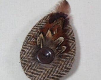 A Harris Tweed hair clip