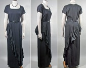 1940s Vintage Black Crepe Evening Dress with Asymmetrical Ruffle