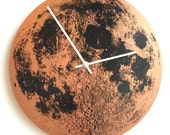 "Copper Clock Super Moon 14"" wall round, metallic hand painted screen printed on wood circle handmade built in Portland Oregon Little Lark"