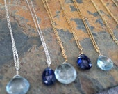 """Semi Precious Stone Necklace on Sterling Silver or Gold Filled, 16"""""""
