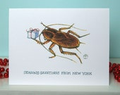 Funny Holiday Card - NYC Critters - Cockroach & Gift