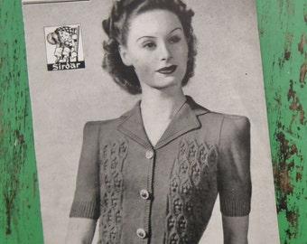 Vintage 1940s Knitting Pattern Women's Jumper Jacket Cardigan 40s original pattern Bestway No. 1440 UK Second World War style