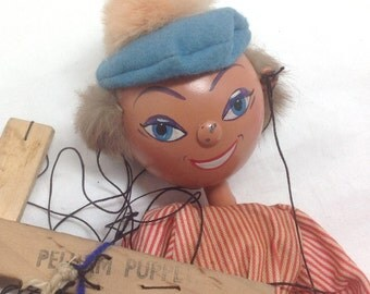 Puppet Boy Marionette Pelham - Vintage Original Clothes Blue Red - Made in England - Italian Gondola Man - Great toy from the 1950s 1960s