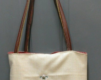 Embroidered cross tote bag