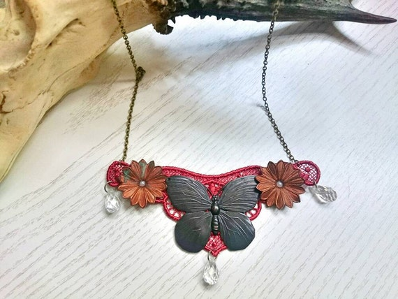 Butterfly Bib Necklace, Collage Necklace, Gift For Mum, Statement Necklace, Gift Ideas For Her, Birthday Present