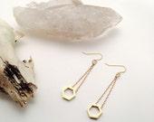 Brass Minimalist Honeycomb Drop Earrings || Simple Geometric Earrings || Brass Dangle Earrings || Brass Hexagon Earrings || Simple Jewelry