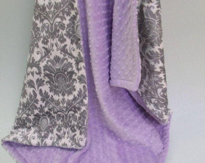 Minky baby Blanket Lavender and Gray Damask, Light Purple and Gray Damask Blanket, Baby Girl Blanket Can Be Personalized