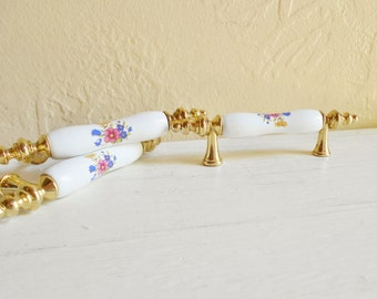 Vintage Porcelain and Gold Floral Handles Drawer Cupboard Pulls Matching - Set of 6
