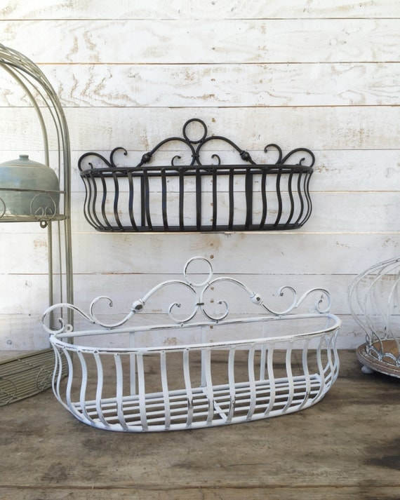 Metal wall basket kitchen home decor distressed by