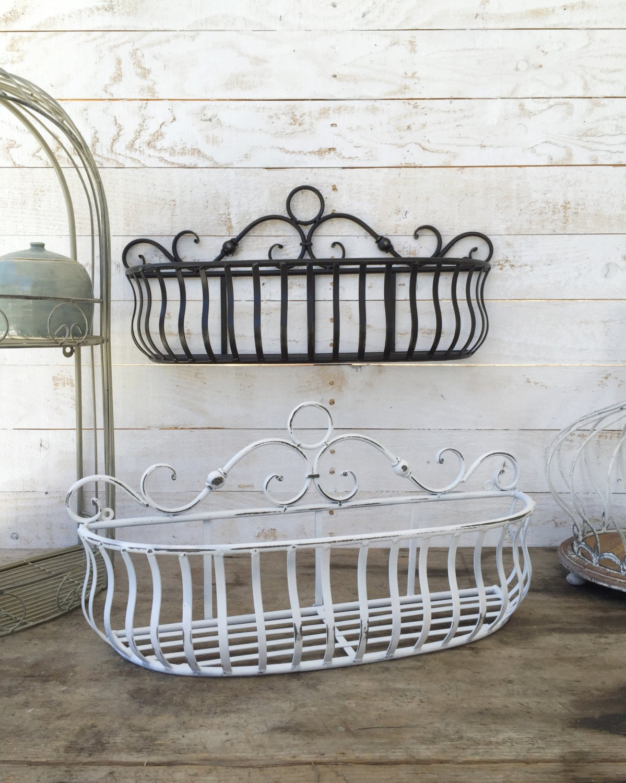 Metal Wall Basket Kitchen Home Decor Distressed Black