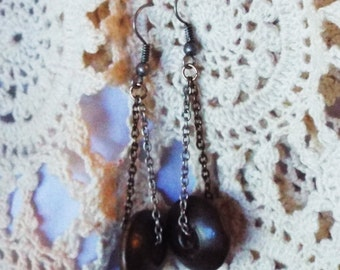 Dark Wood Earrings Wooden Disk Silver Copper Gold Chain