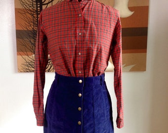 Vintage 70s 80s Red Plaid Peter Pan Collar XS Button Down Schoolgirl Blouse