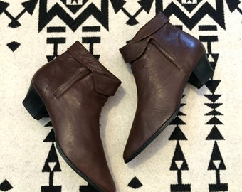 Vintage Boots Leather Boots Brown Leather Boots Ankle Boots Womens Boots Size 8 Folded Top Boots Made in Brazil Pointed Toe Boots
