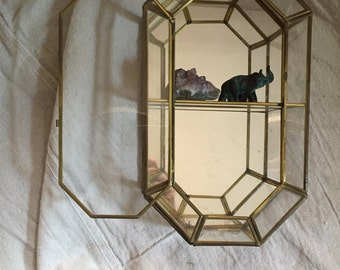 Mirrored Wall Curio - Mid Century wall caninet - cabinet of curiosities