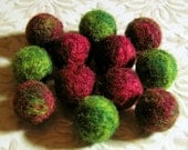 12 Felted Beads - Red and Green Needle Felted Marbled Wool Balls - A Very Merry Winterberry Mix - Christmas Winter Holiday Felt Balls