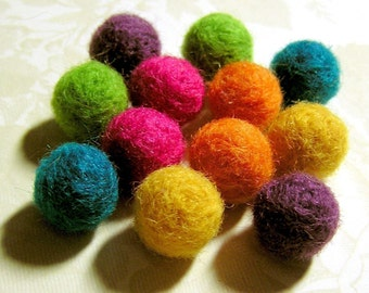 Needle Felted Balls - Solid Brights Mix - Bright Rainbow Wool Felt Beads - Set of 12 Fuzzy Brightly Colored Round Ball Beads