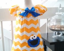 Cookie Monster Dress, Sesame Street Dress, Cookie Monster Birthday Dress, Baby Dress, Elmo Dress, Fully Lined Dress, Made to Order 12M-3T