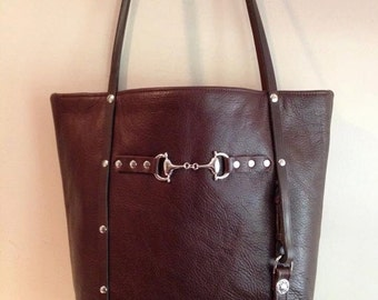 Leather McKinley Tote with Horse Reins and Horse Bit