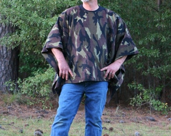 Woodland Camouflage Fleece Poncho in Make My Day Clint Eastwood Style Camo