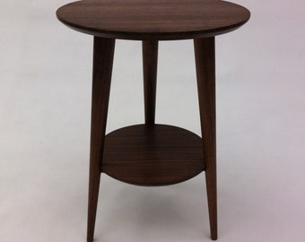 Mid Century Modern Side Table -Solid Walnut Shaker Lines with Tapered Walnut Legs -
