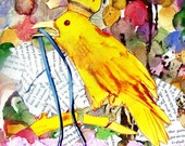King Yellow Crow * Whimsical Crow Art print * from original collage * giclee print