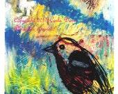 Bird in Winter Print * Bird in Blue Sky * Scratchboard look Bird Print * Giclee Photo Print from Original Oil Pastel * by Crow Baby Press