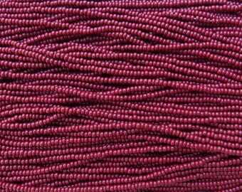 8/0 Opaque Red Mahogany Czech Glass Seed Bead Strand (CW37) SE