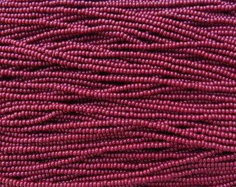 8/0 Opaque Red Mahogany Czech Glass Seed Bead Strand (CW37)